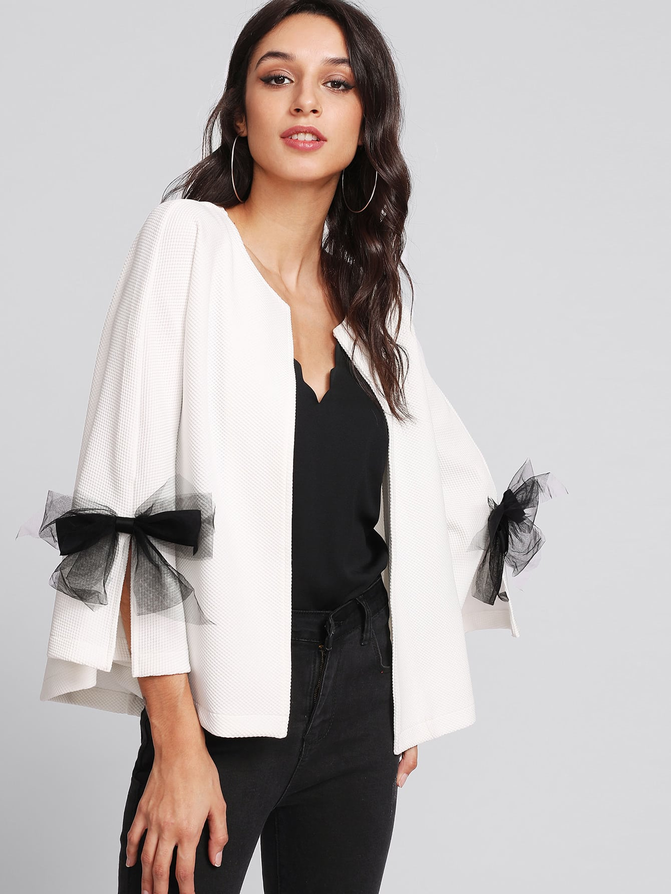 Bow Slit Bell Sleeve Textured Blazer