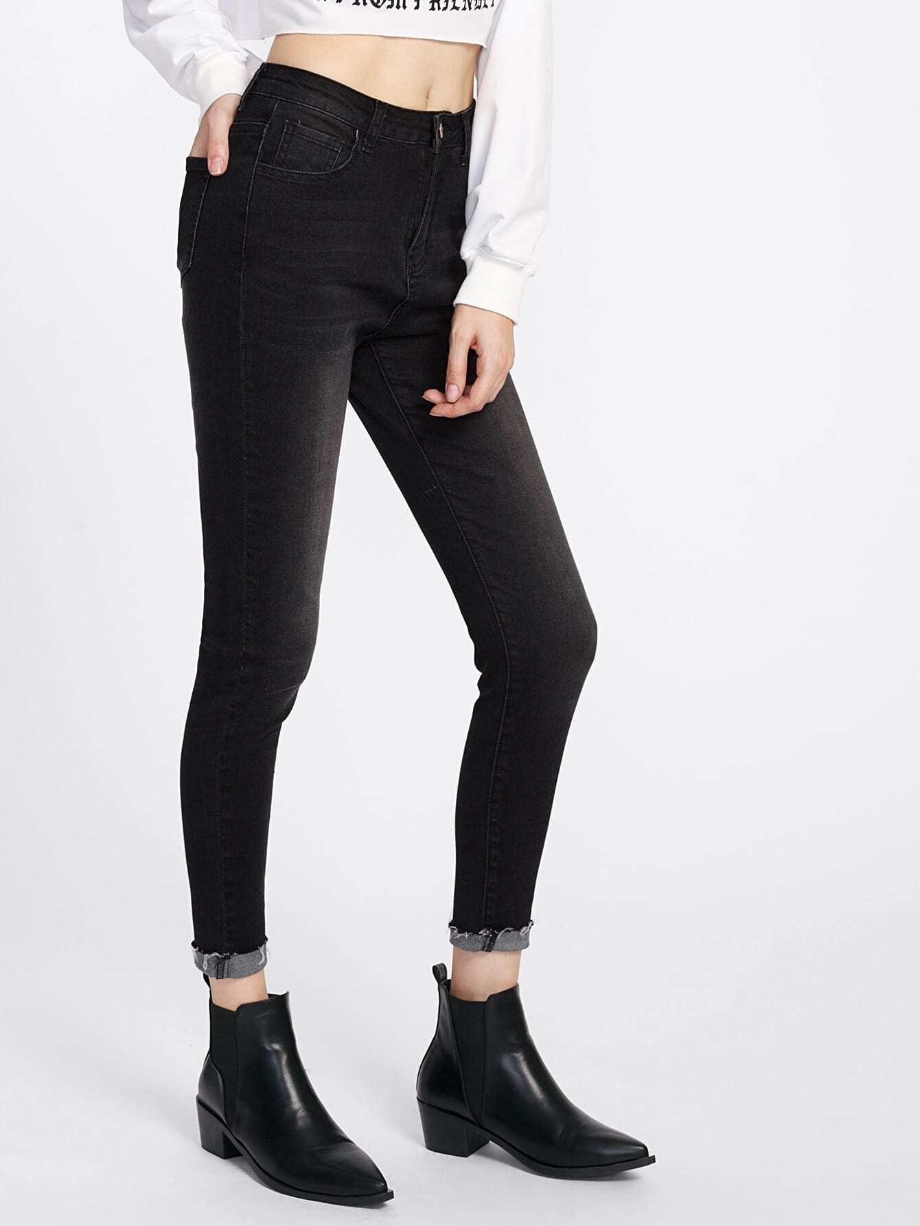 Rolled Raw Cut Hem Dark Wash Jeans