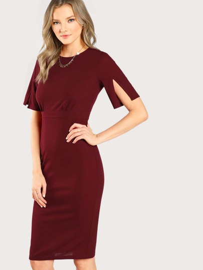 Slit Bell Sleeve Fitted Dress