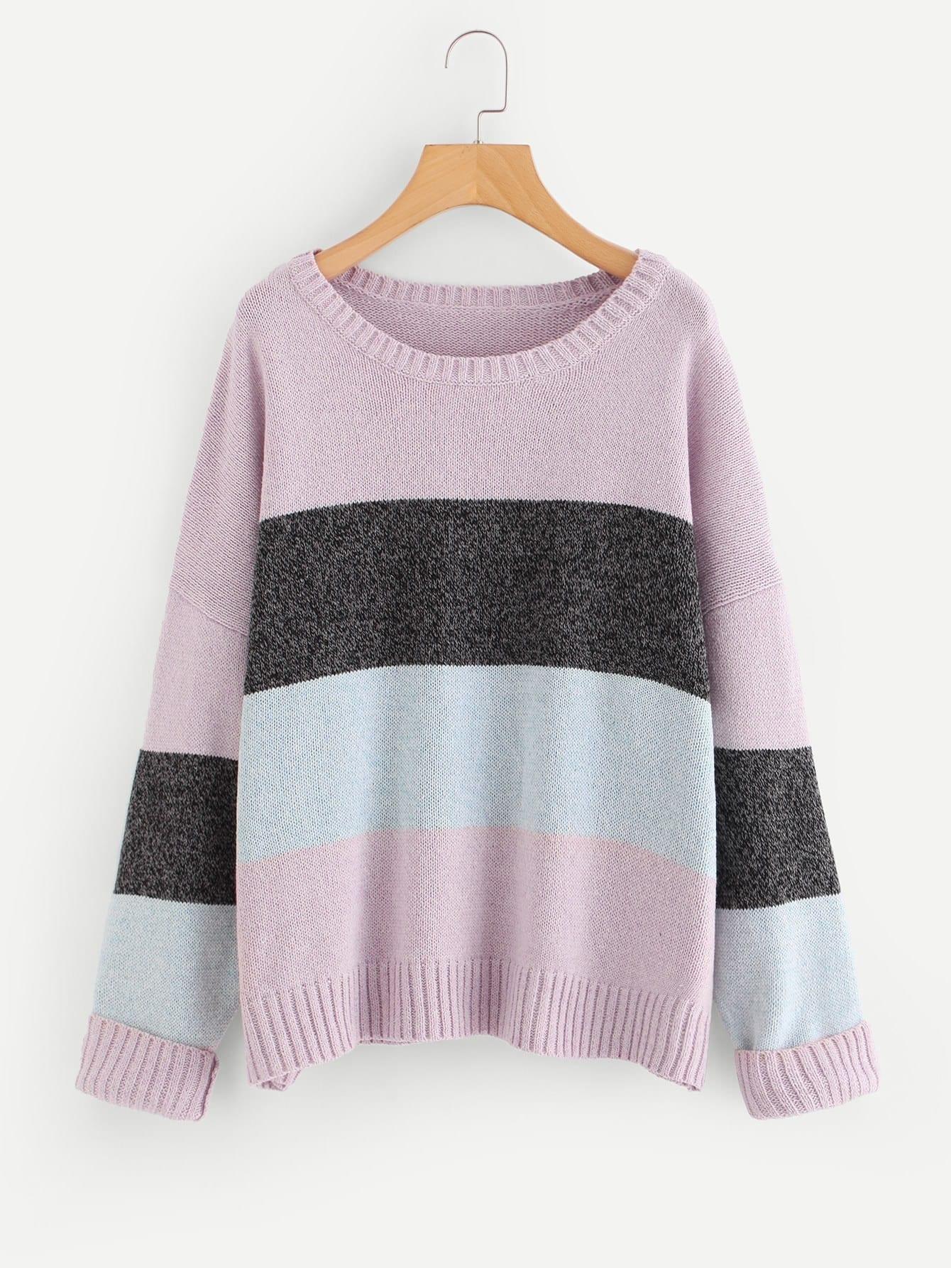 Drop Shoulder Color Block Sweater drop shoulder two tone eyelet sweater