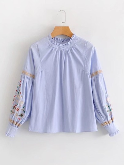 Frill Detail Embroidered Lantern Sleeve Striped Blouse