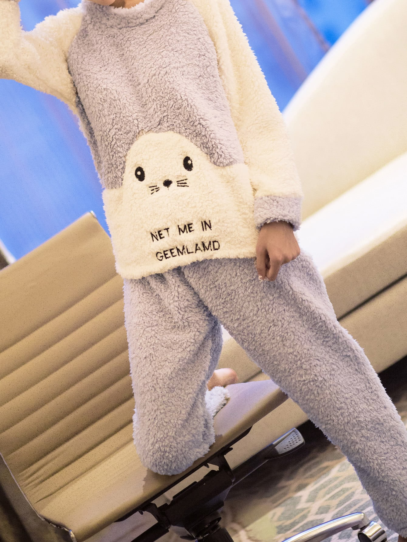 Two Tone Embroidered Faux Fleece Pullover & Pants Pj Set