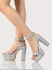 Glitter Ankle Strap Platfom Heels BLUSH