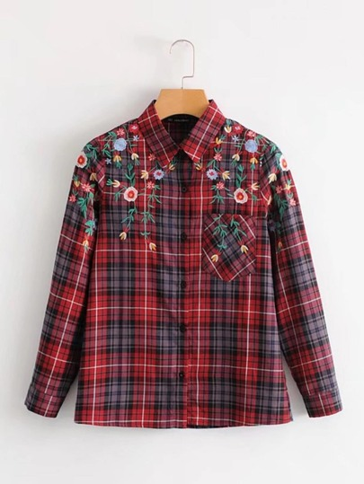 Embroidered Flower Plaid Blouse