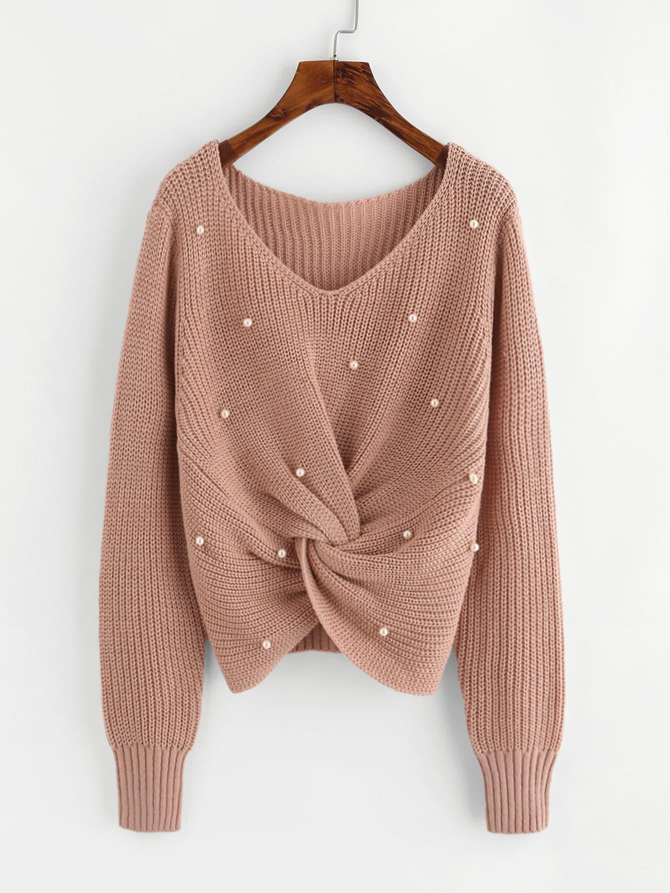 Pearl Beaded Detail Twist Sweater -SheIn(Sheinside)
