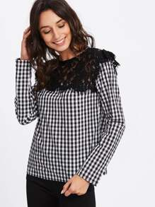 Eyelet Lace Applique Gingham Top