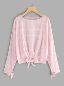 Knotted Detail Grid Dolman Blouse