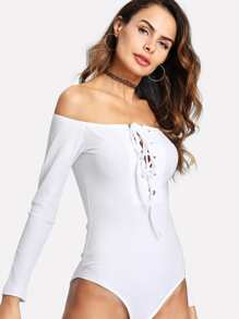 Grommet Lace Up Bardot Ribbed Bodysuit