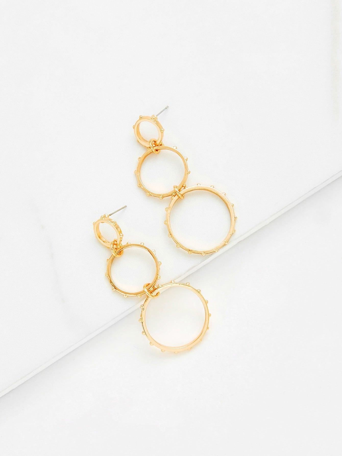 Double Hoop Drop Earrings vintage tassel drop hoop earrings