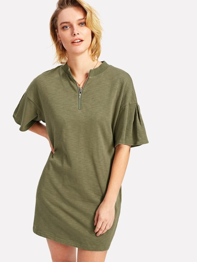 Zip Front Ribbed Neck Slub Tee
