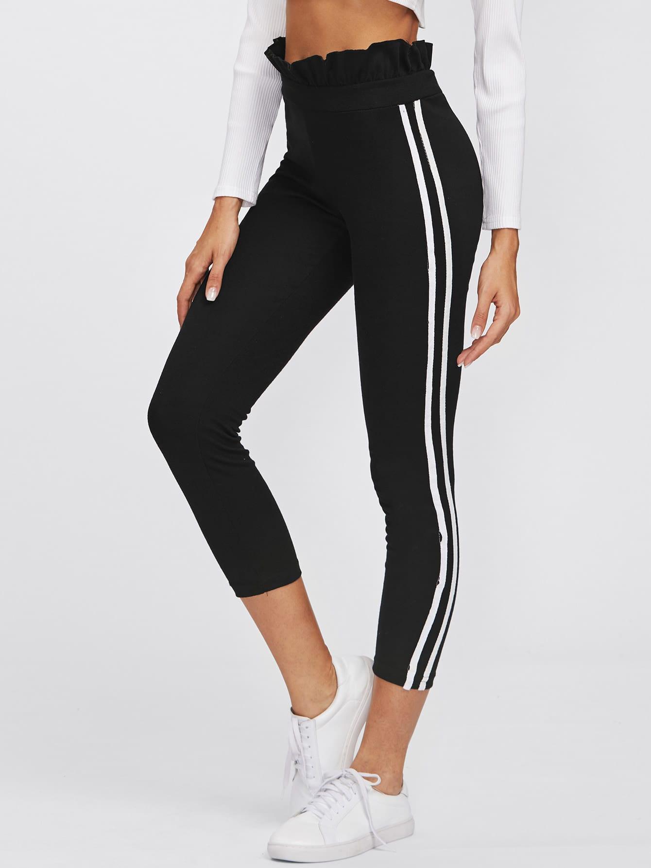Stripe Side Ruffle Hem Pants