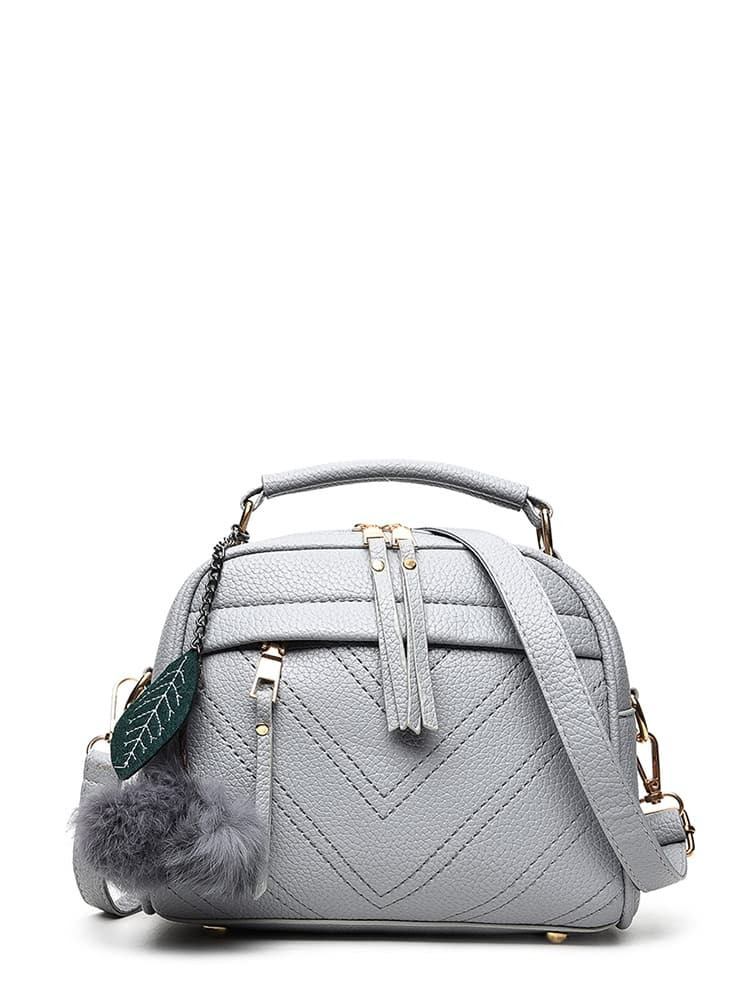 Faux Fur Pom Pom Leaf Charm Shoulder Bag