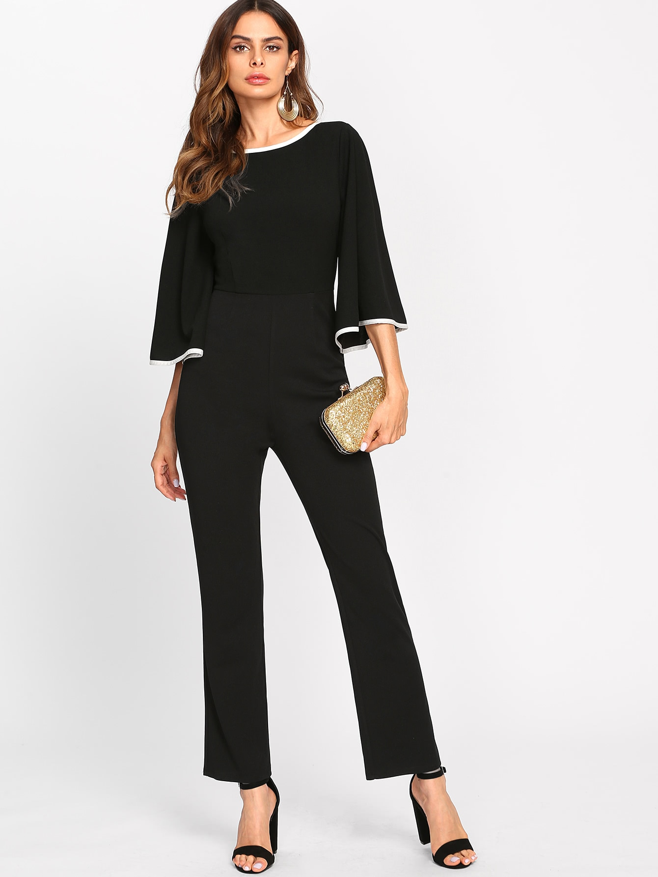 Contrast Binding Fluted Sleeve Tailored Jumpsuit walther silver tac