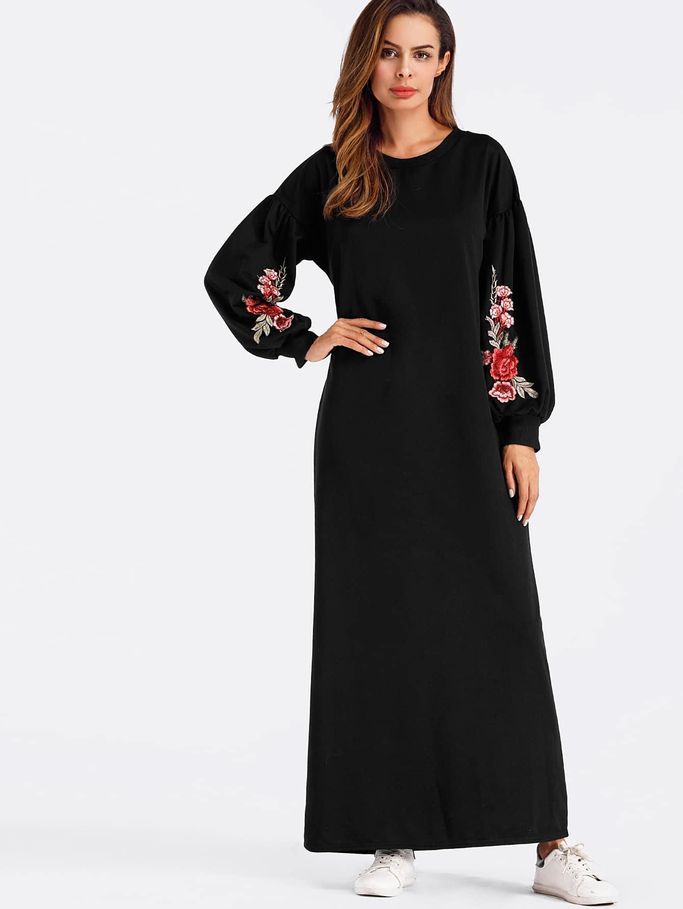 Lantern sleeve Rose Applique Full Length Dress full length tee dress