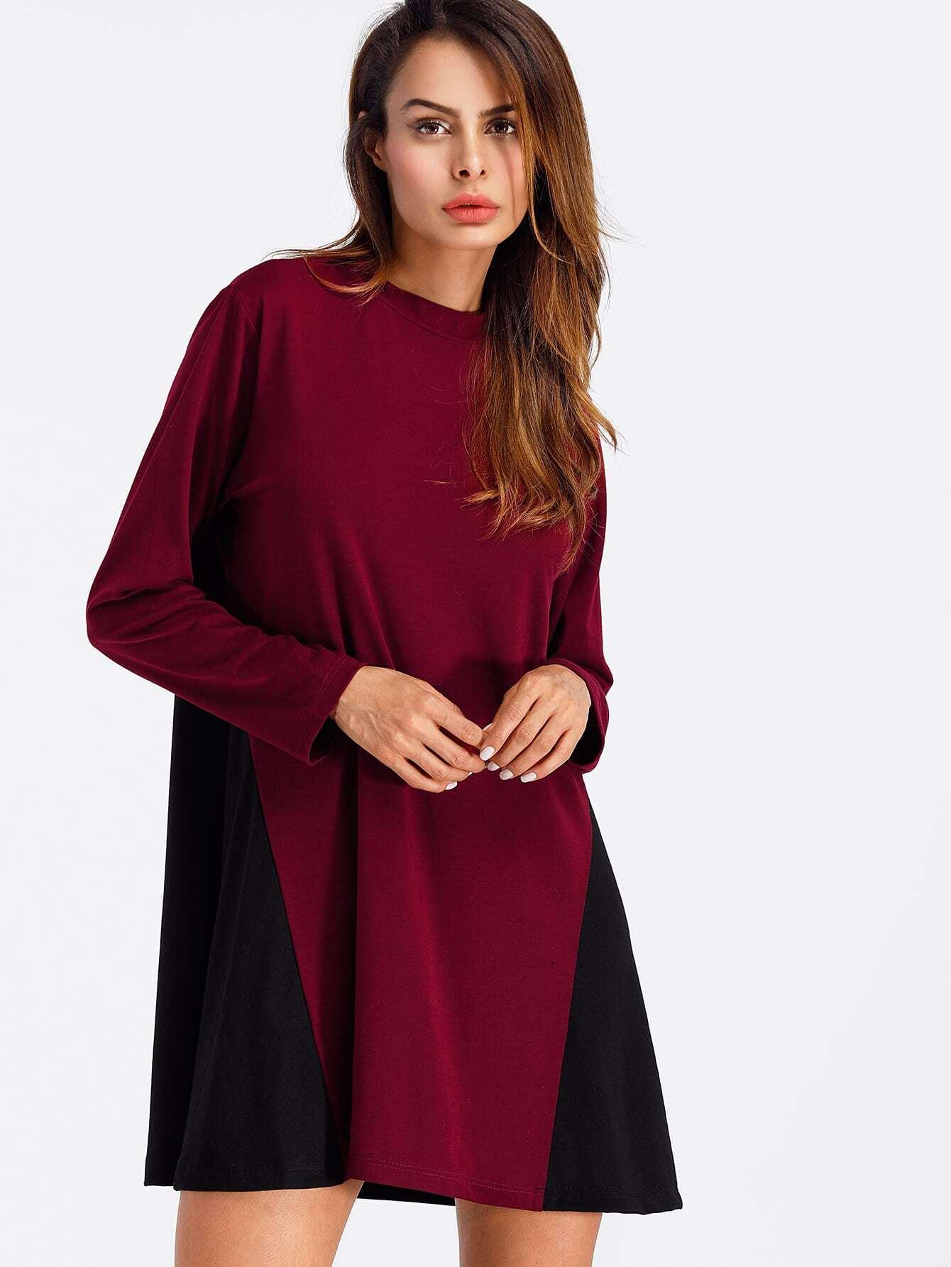 Cut And Sew Color Block Shift Dress cut and sew color block jumper