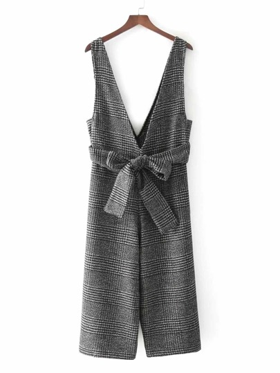 Self Tie Glen Plaid Jumpsuit