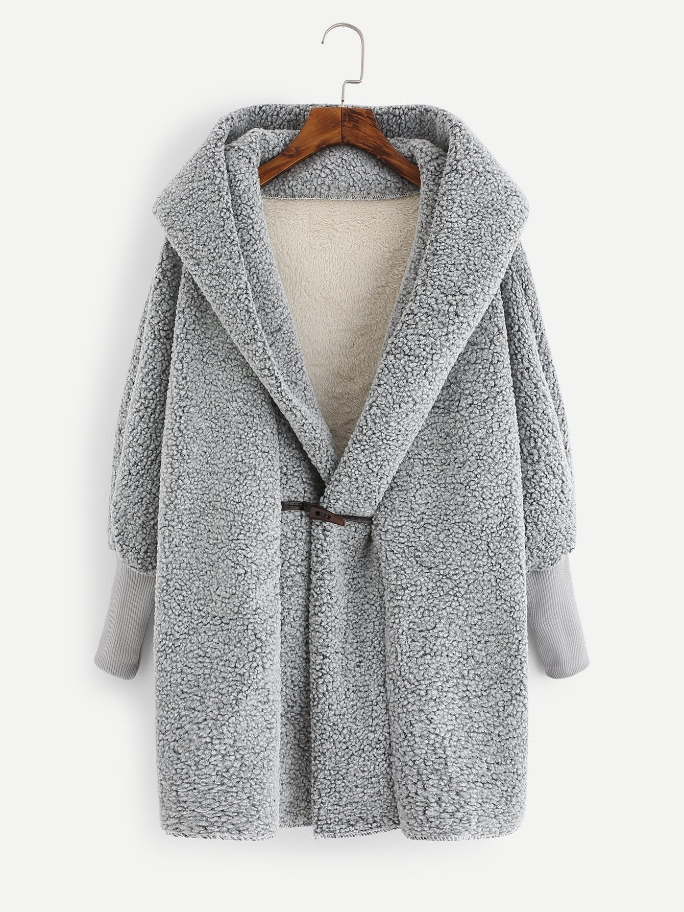 Faux Shearling Hooded Coat dotfashion faux fur hooded shearling lined coat 2017 grey zipper long sleeve top female single breasted knee length coat