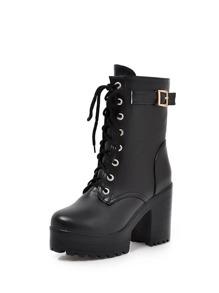 Buckle Detail Block Heeled Platform Boots