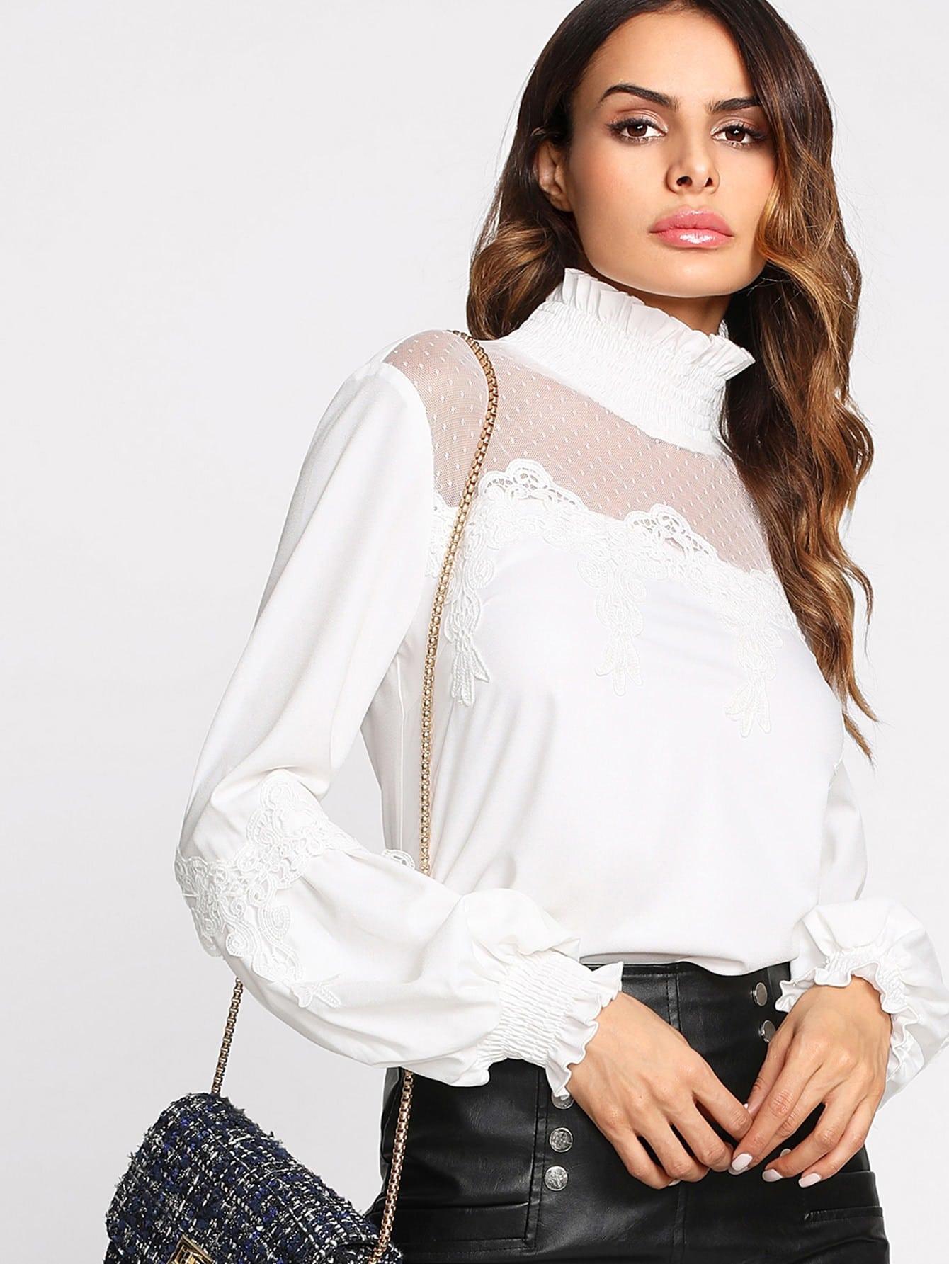 Dot Mesh Insert Lace Applique Blouse lace insert floral blouse