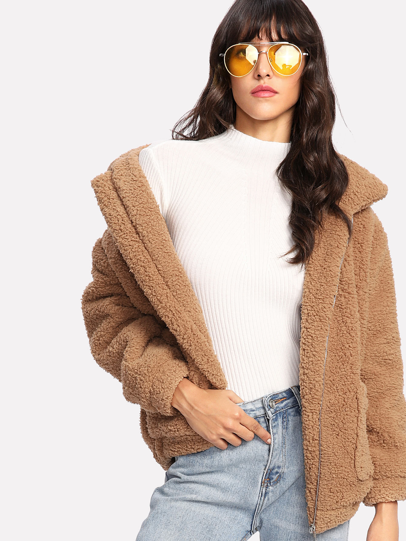 Dual Pocket Faux Fur Jacket Shein Sheinside