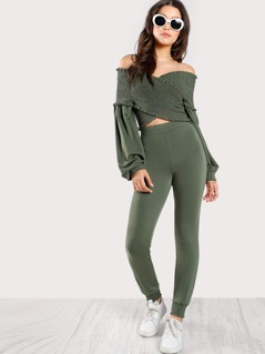 Crossed Smocking Off SHoulder Top & Matching Joggers OLIVE