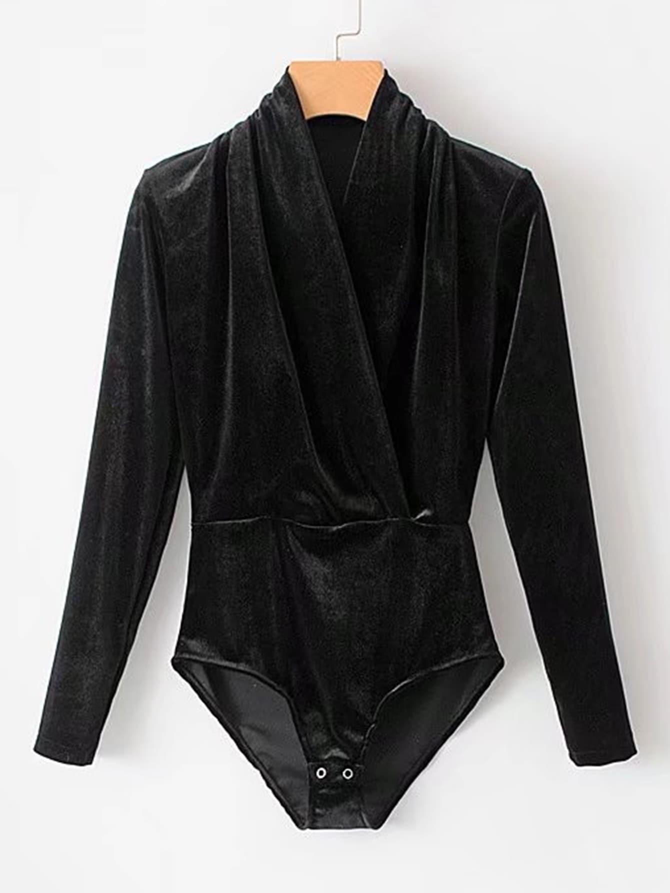 Surplice Neckline Velvet Bodysuit  цена и фото
