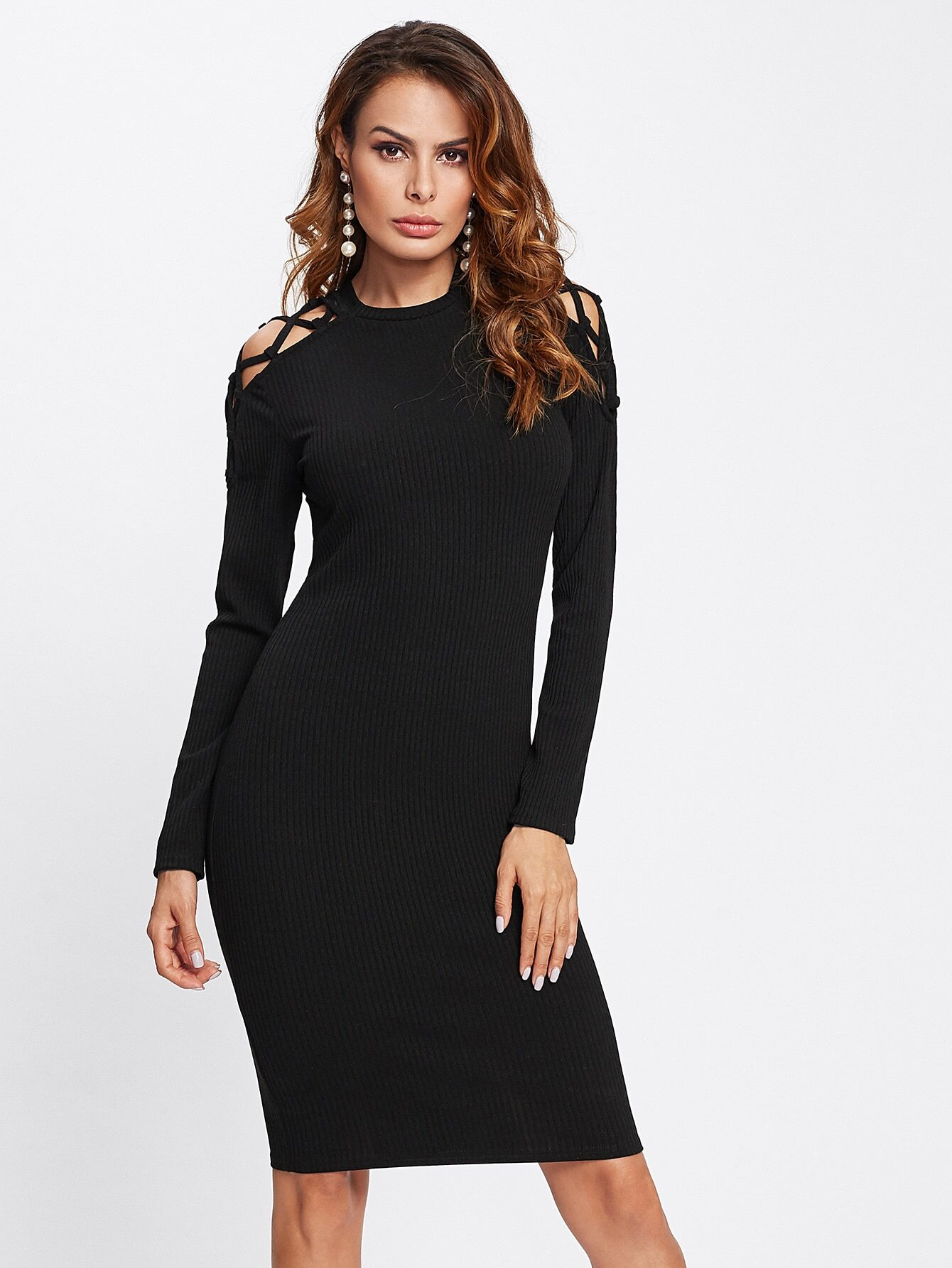 Cutout Crisscross Shoulder Rib Knit Dress dress171102712