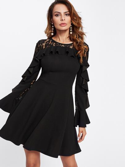 Contrast Lace Flounce Embellished Fitted & Flared Dress