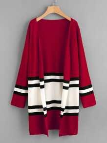 Contrast Stripe Panel Drop Shoulder Jersey Cardigan