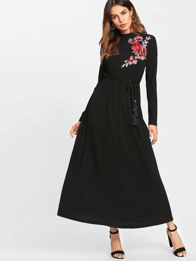 Rose Applique Hijab Long Dress With Tasseled Belt