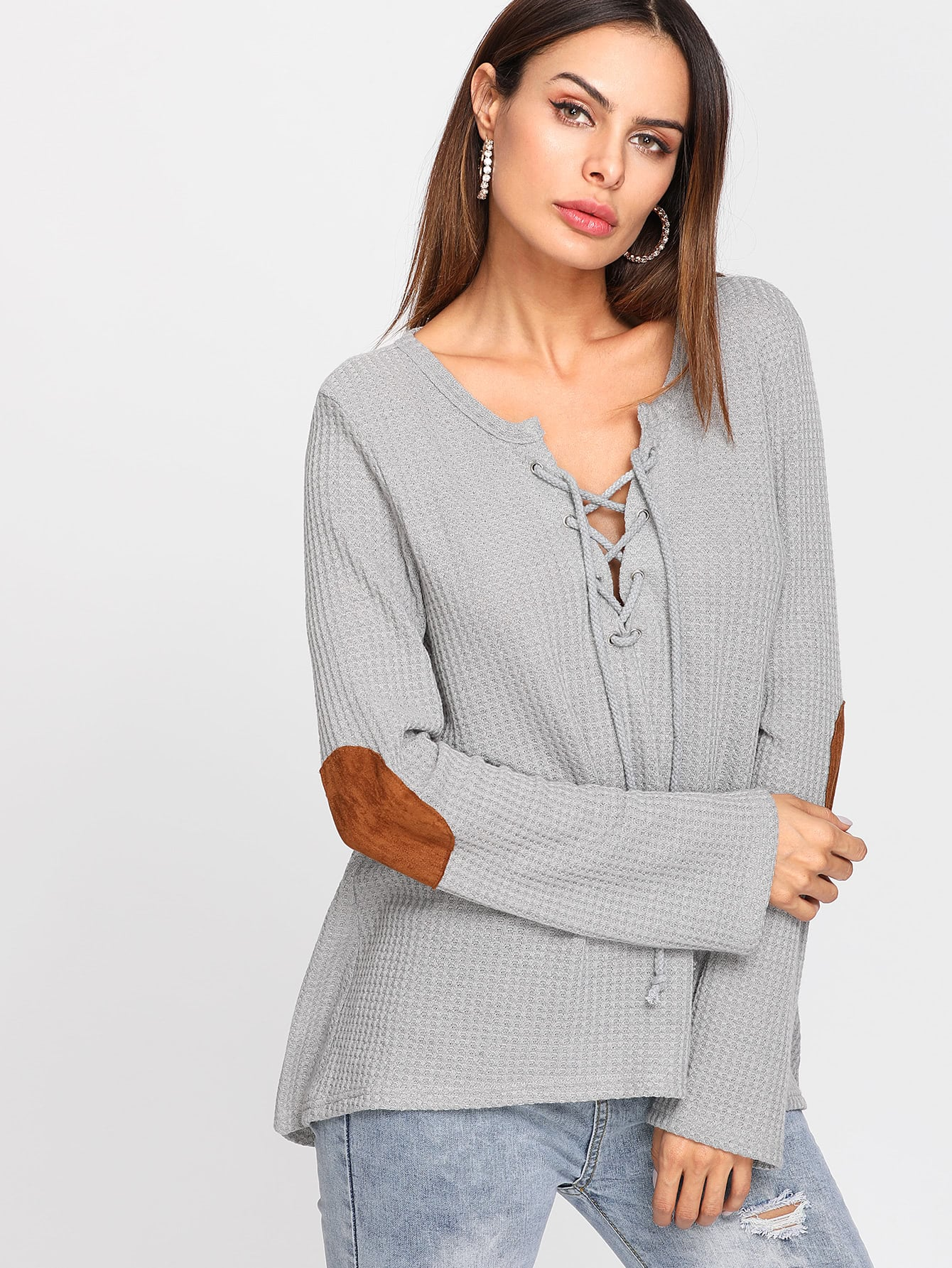 Lace Up Front Elbow Patched Top lace up front fit