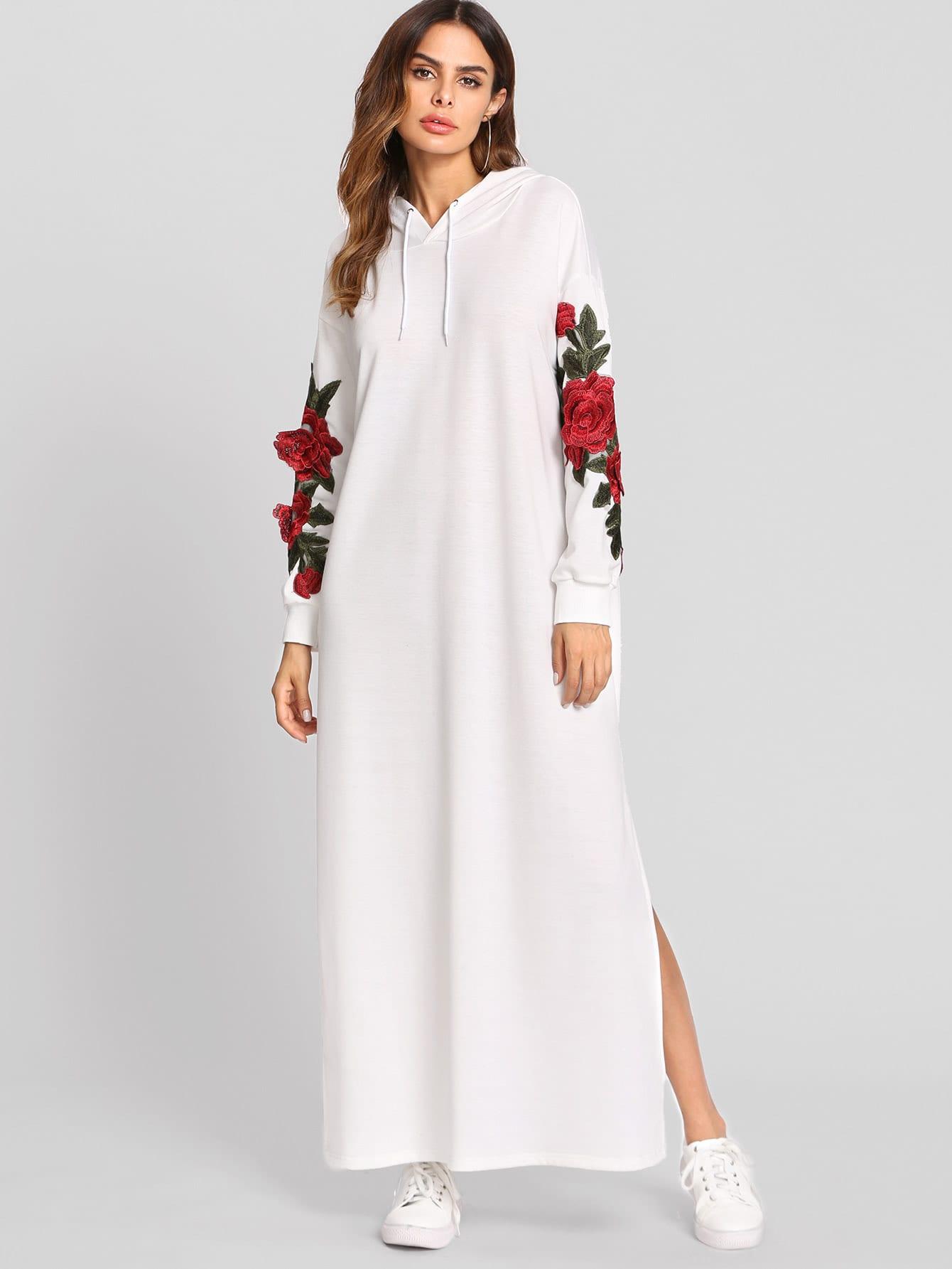 3D Embroidered Applique Slit Side Hoodie Dress
