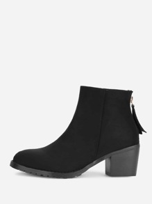 Block Heeled Almond Toe Ankle Boots