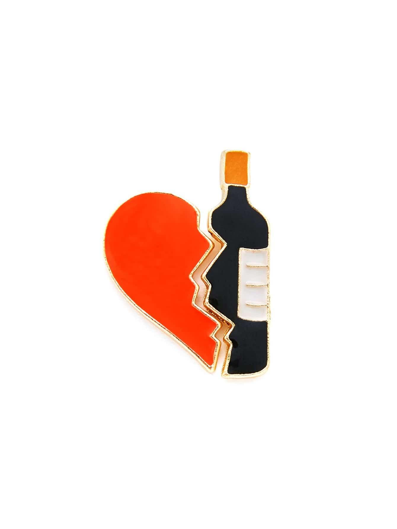 Heart & Bottle Puzzle Brooch Set puzzle heart design keychain set 2pcs