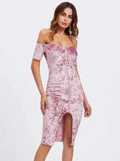 Zip Up Crushed Velvet Bardot Dress