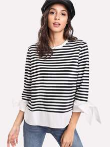 Contrast Curved Hem Bow Cuff Striped Tee