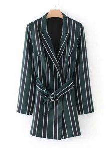 Striped Blazer Romper With Belt