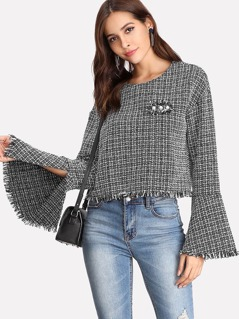 Pearl Beading Split Trumpet Sleeve Tweed Top