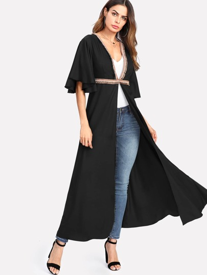 Embroidery Tape And Fringe Trim Flutter Sleeve Abaya