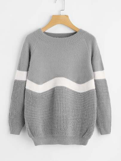 Cut And Sew Texture Knit Sweater