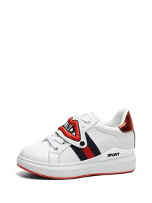 Mismatch Patch Decorated PU Sneakers