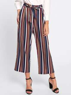 Tie Waist Striped Culotte Pants