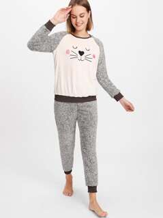 Raglan Sleeve Cartoon Pattern Front Top & Sweatpants PJ Set