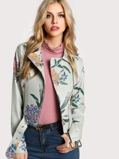 Floral Print Moto Jacket IVORY
