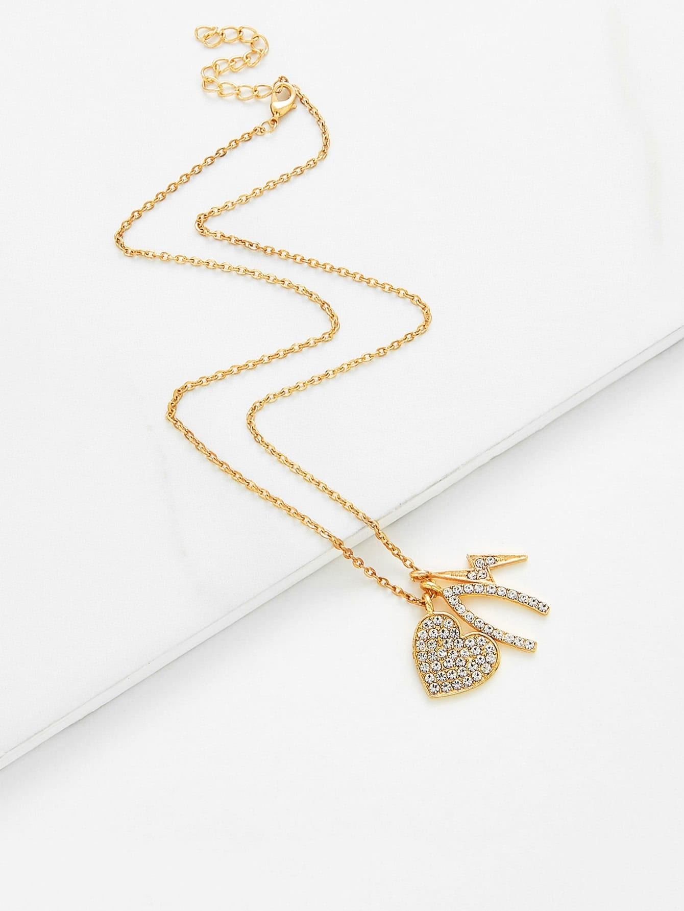 Rhinestone Heart & Flash Pendant Chain Necklace rhinestone heart chain pendant necklace