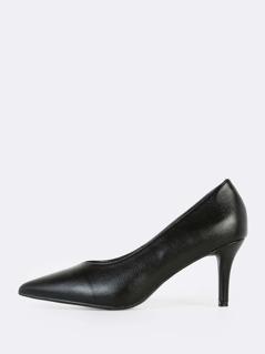 Point Toe Low Heel Pumps BLACK