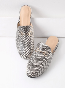 Mixed Print Loafer Mules