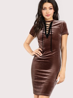 Grommet Lace Up Velvet Dress