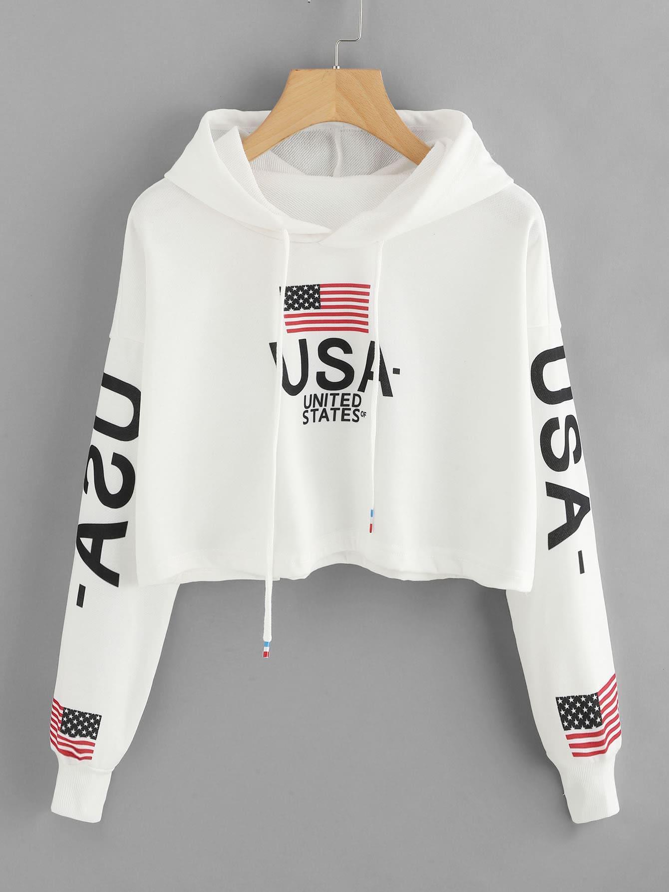 Hoodie mit sehr tief angesetzter Schulterpartie und US-Flagge Muster