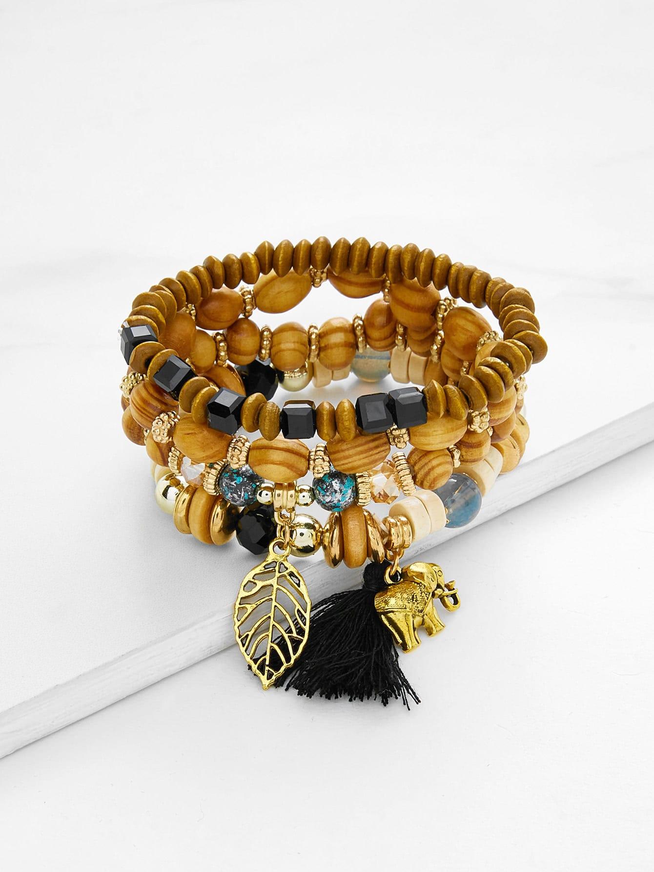 Leaf & Elephant Charm Beaded Bracelet Set leaf opening bracelet